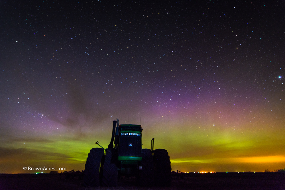 The northern lights were putting on a show for all the farmers.