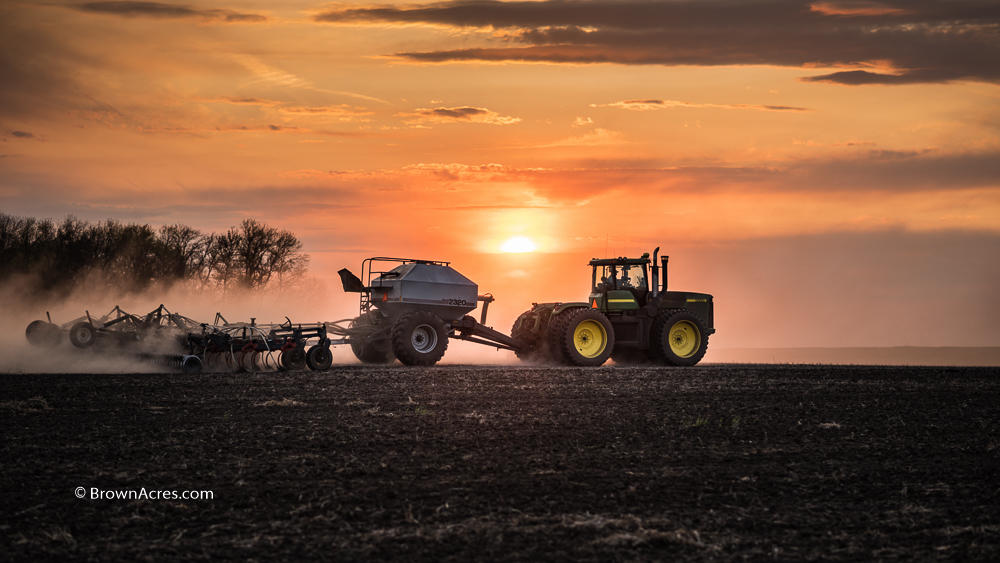 North Dakota sunset planting soybeans farmer Brown Acres Custom Harvester Wheat Canola Oklahoma Kansas Nebraska South Dakota Combining Cutter DSC_5768