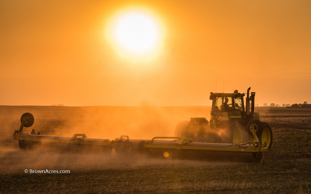 farmer rock rolling beans sunset North Dakota tractor field