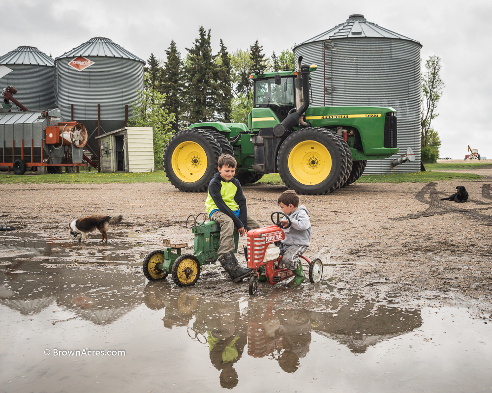 Farm boys riding John Deere and Farmall pedal tractors in a puddle. John Deere 9200 Tractor Grain Dryer Grain bins farm dog